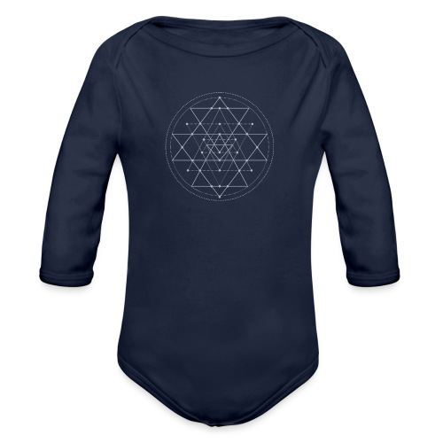 Harmaa geometrinen Shri Yantra -kuvio - Vauvan pitkähihainen luomu-body