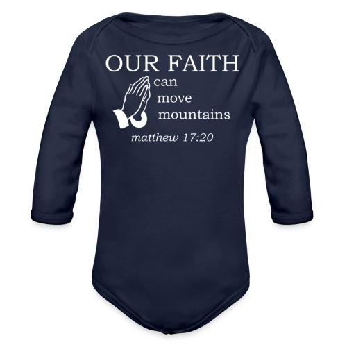 'OUR FAITH' t-shirt (white) - Organic Longsleeve Baby Bodysuit