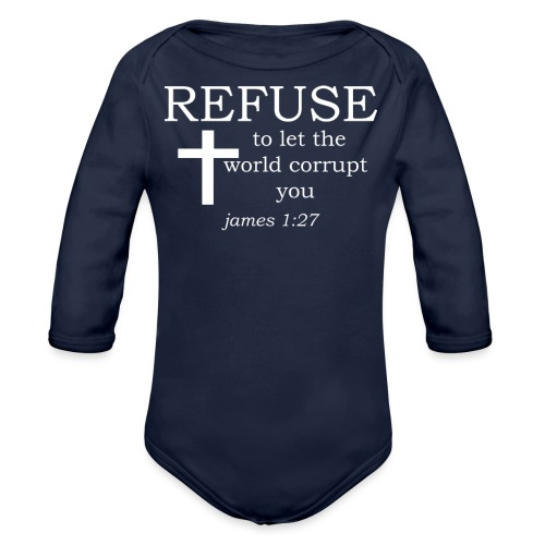 'REFUSE' t-shirt (white) - Organic Longsleeve Baby Bodysuit