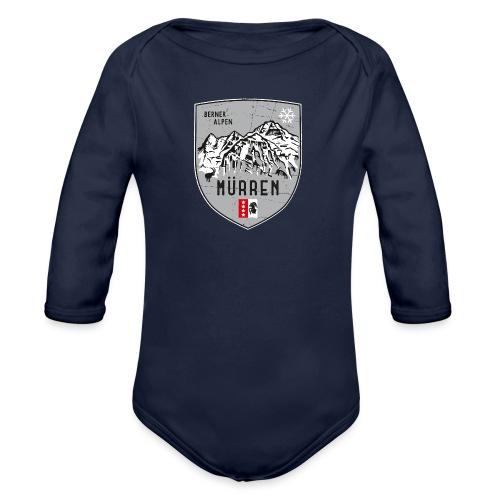 Eiger, Mönch und Jungfrau mit Mürren Flagge - Organic Longsleeve Baby Bodysuit