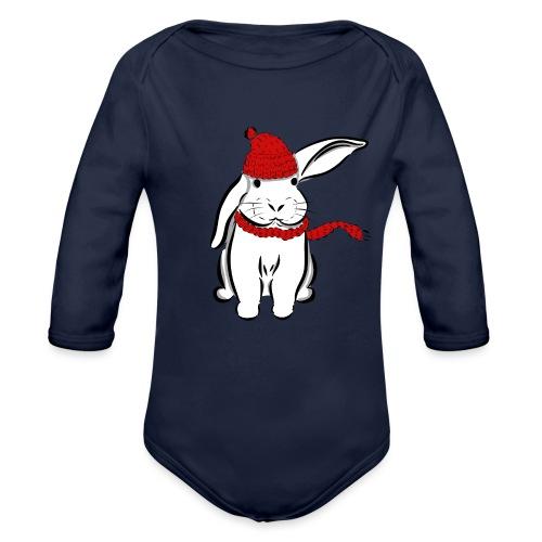 Kaninchen Hase Mütze Schal Schlappohr Schneehase - Baby Bio-Langarm-Body