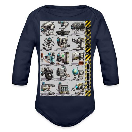 March of Rawrobots 01-15 - Langærmet babybody, økologisk bomuld
