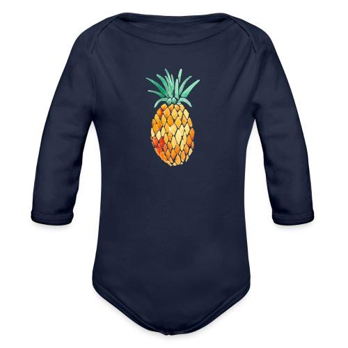 pinety logo print - Langærmet babybody, økologisk bomuld