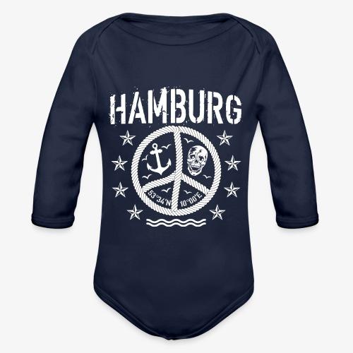 105 Hamburg Peace Anker Seil Koordinaten - Baby Bio-Langarm-Body