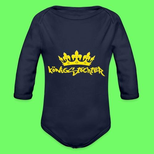 Königstochter m. Krone über der stylischen Schrift - Baby Bio-Langarm-Body
