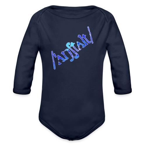 /'angstalt/ logo gerastert (blau/weiss) - Baby Bio-Langarm-Body