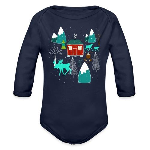Weihnachten Elch I Geschenk Winterstimmung - Baby Bio-Langarm-Body