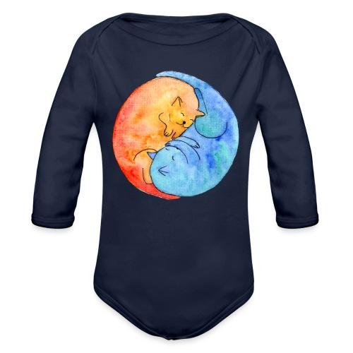 Katzenfreunde Yin Yang orange und blau - Baby Bio-Langarm-Body