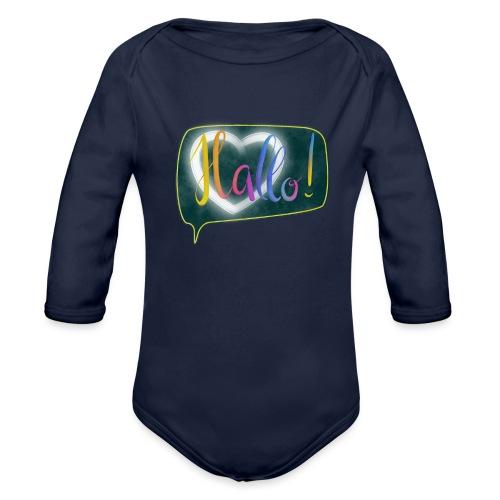 Hallo! Lettering mit Herz in Sprechblase - Baby Bio-Langarm-Body