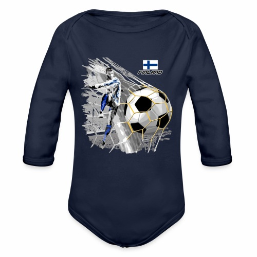 FP22F 05 FINLAND FOOTBALL - Vauvan pitkähihainen luomu-body