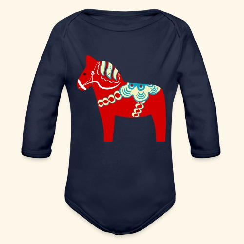 Röd dalahäst - Ekologisk långärmad babybody