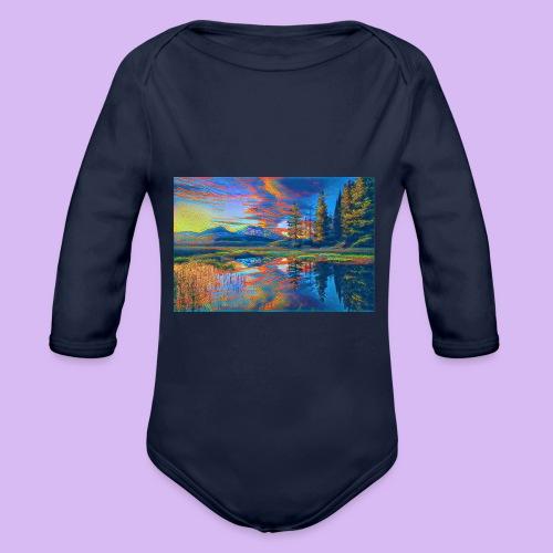 Paesaggio al tramonto con laghetto stilizzato - Body ecologico per neonato a manica lunga