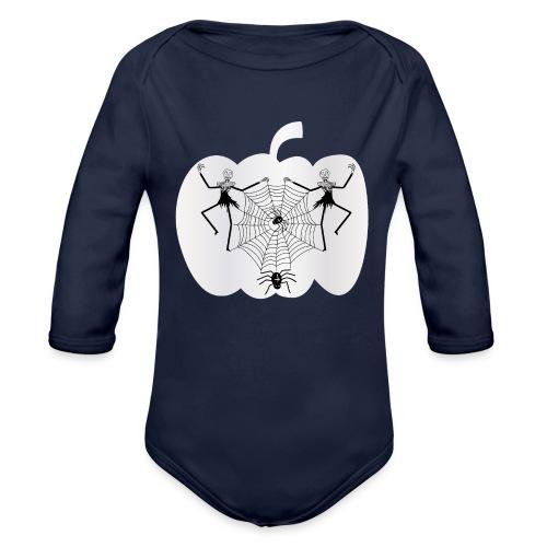 halloween spinnennetz und Skelette - Baby Bio-Langarm-Body