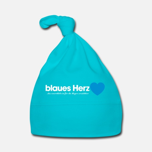 blaues Herz - Baby Mütze