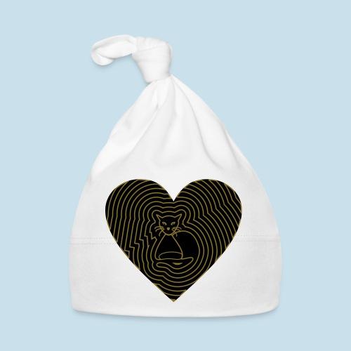 Katzen Herz Spirale 2 Färbig - Baby Mütze