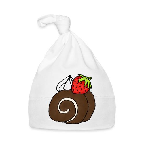 Biskuitrolle Schokolade mit Sahne und Erdbeere - Baby Mütze