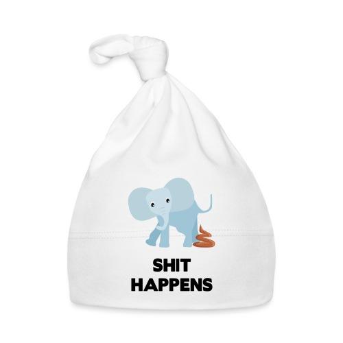 olifant met drol shit happens poep schaamte - Muts voor baby's