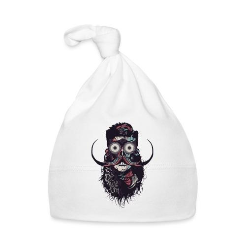 hipster tete de mort crane barbu skull moustache b - Bonnet Bébé