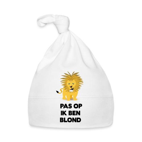 Pas op ik ben blond een cartoon van blonde leeuw - Muts voor baby's