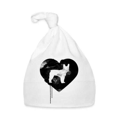 Französische Bulldogge Herz mit Silhouette - Baby Mütze