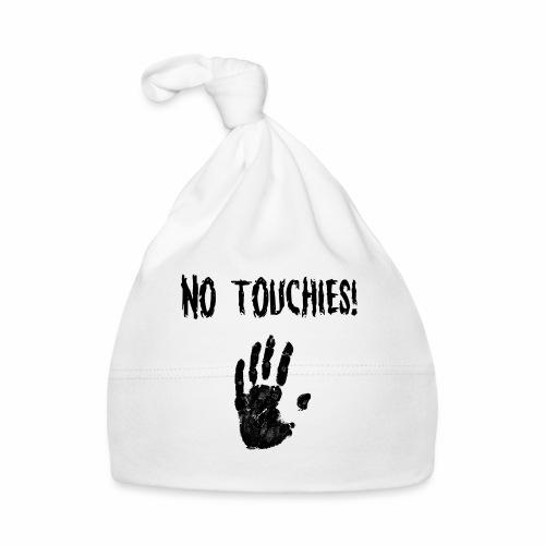 No Touchies in Black 1 Hand Below Text - Baby Cap