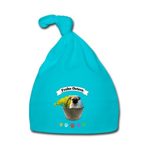 Frohe Ostern   Mops im Korb - Baby Mütze