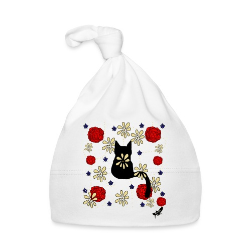 Cat with Flowers by BlackenedMoonArts, w. logo - Babyhue