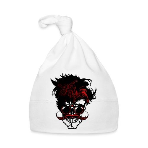 tete de mort hipster moustache skull crane lunette - Bonnet Bébé