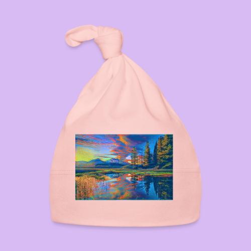 Paesaggio al tramonto con laghetto stilizzato - Cappellino neonato