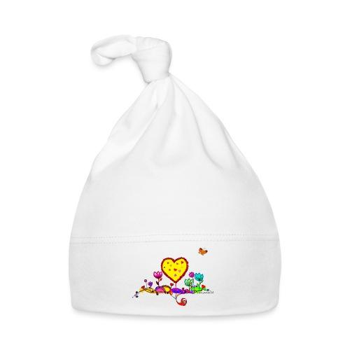 Blumengruß mit Herz - Baby Mütze
