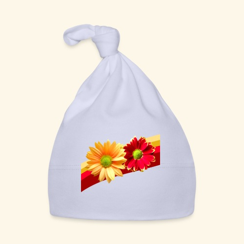 Blumen in den Farben rot und gelb, Blüten, floral - Baby Mütze