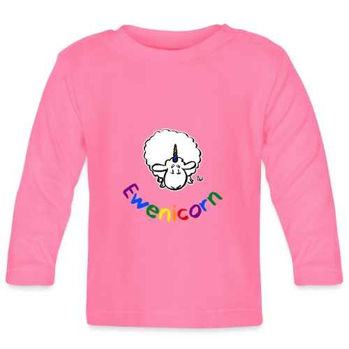Ewenicorn (black edition rainbow text) - Baby Long Sleeve T-Shirt