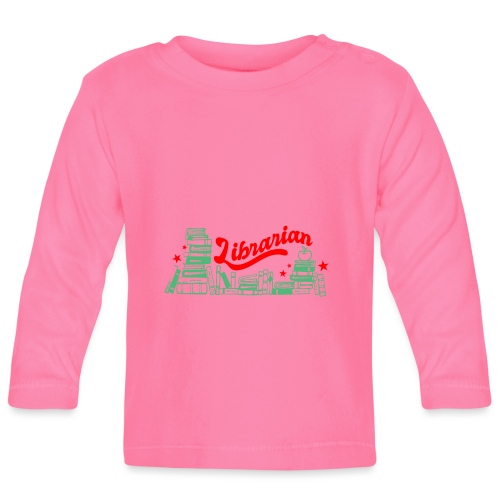 0322 Stack of books Librarian bookshelf - Baby Long Sleeve T-Shirt