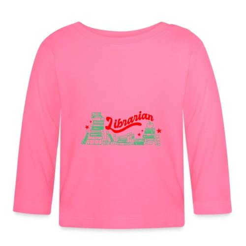 0322 Stack of books Librarian bookshelf - Baby Long Sleeve T-Shirt