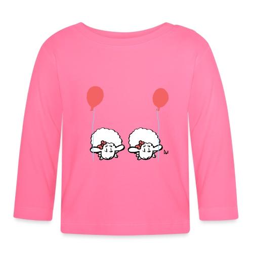 Baby lam tvillinger med ballon (lyserød og lyserød) - Langærmet babyshirt