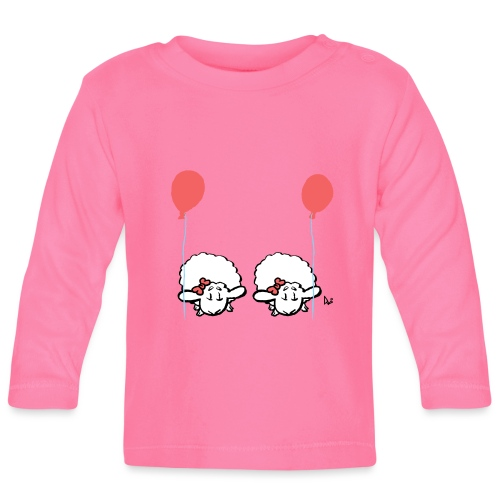 Baby Lamb Twins con globo (rosa y rosa) - Camiseta manga larga bebé