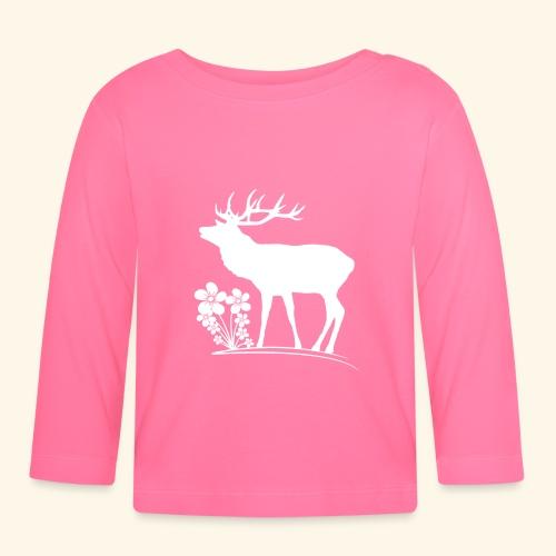 wilder Hirsch mit Blumen, Tiere, Reh, Hirsche - Baby Langarmshirt