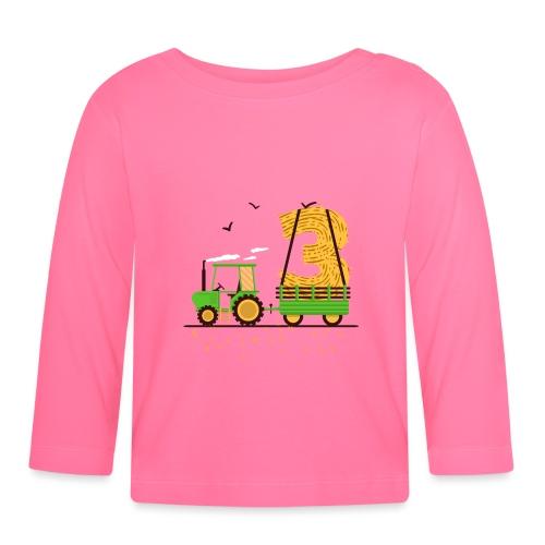 Traktor mit Anhänger 3. Geburtstag Geschenk Drei - Baby Langarmshirt