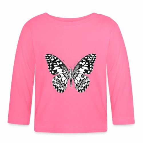 08 Schmetterling schwarz weiss schwarzweiß - Baby Langarmshirt