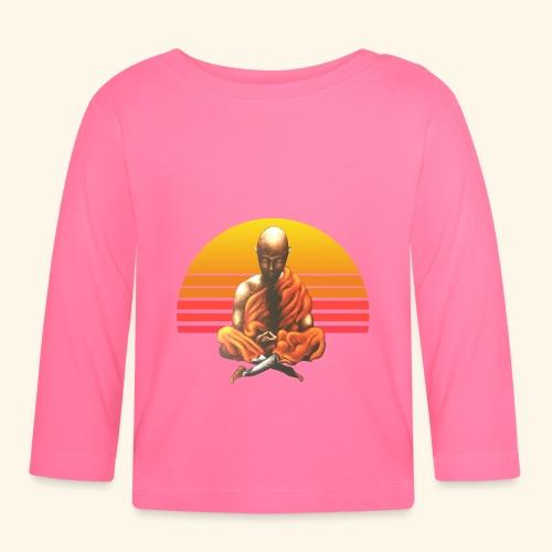 Buddha Yoga Meditation Retro Spiritueller Mönch - Baby Langarmshirt