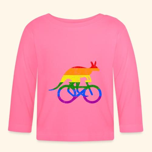 Radfahrer Känguru lustiges Fahrrad Regenbogenfahne - Baby Langarmshirt