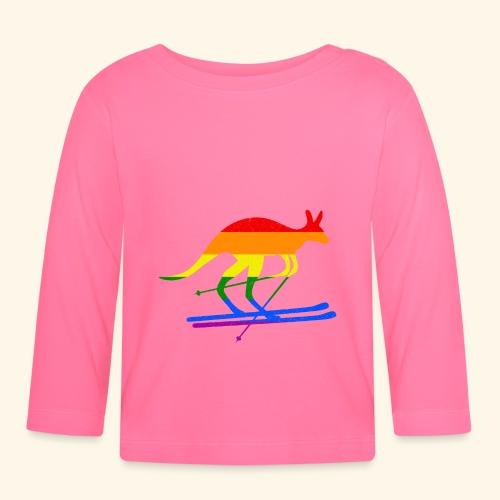 Skifahrer Känguru Ski Wintersport Regenbogenfahne - Baby Langarmshirt