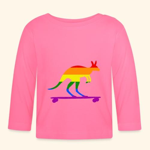 Skater Känguru Longboard Skateboard Regenbogenfahn - Baby Langarmshirt