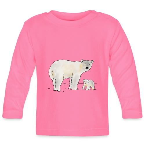 Eisbär mit Jungtier - Baby Langarmshirt