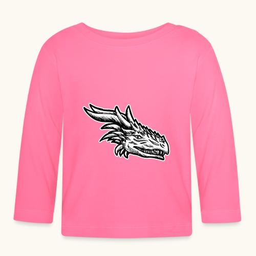 Tête de dragon maléfique Noir Blanc Cadeau Drôle - T-shirt manches longues Bébé