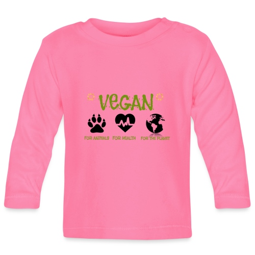 Vegan for animals, health and the environment. - Camiseta manga larga bebé