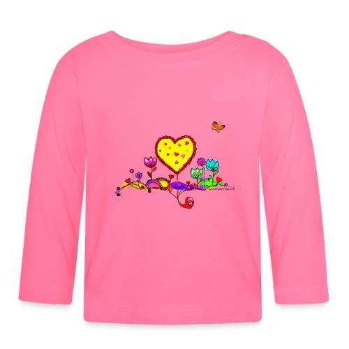 Blumengruß mit Herz - Baby Langarmshirt