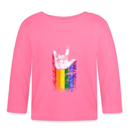 ILY Handsign Regenbogen - Baby Langarmshirt