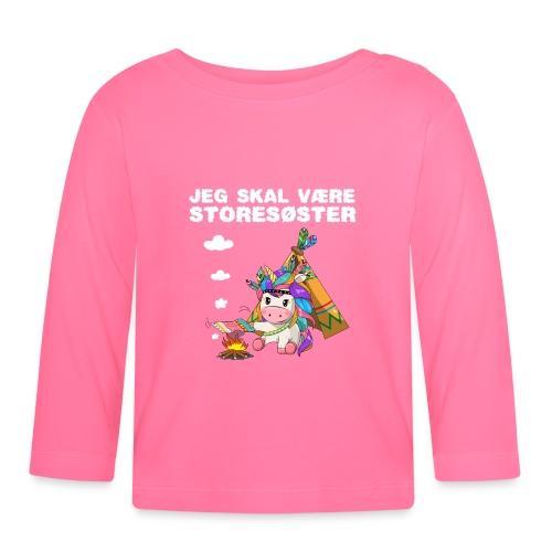 Jeg skal være storesøster enhjørning gave fødsel - Langærmet babyshirt