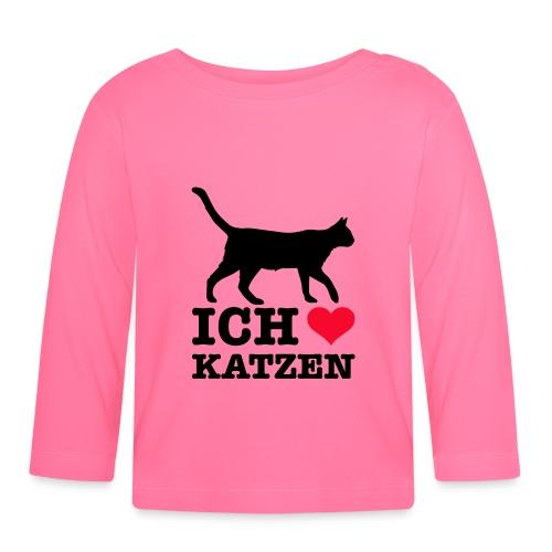 Ich liebe Katzen mit Katzen-Silhouette - Baby Langarmshirt